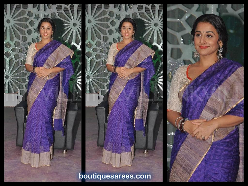 vidya balan in blue sari