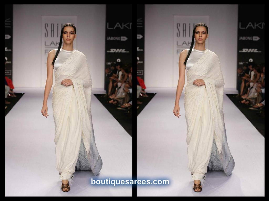 white saree  by sailex