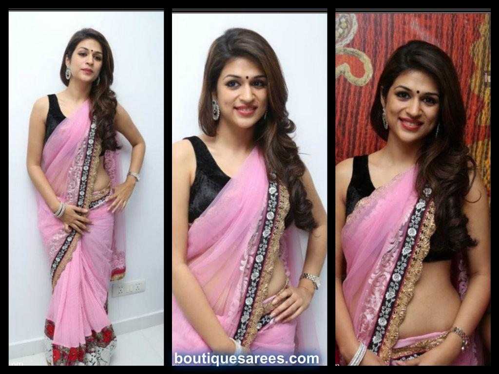 Shraddha Das in pink  embroidery saree