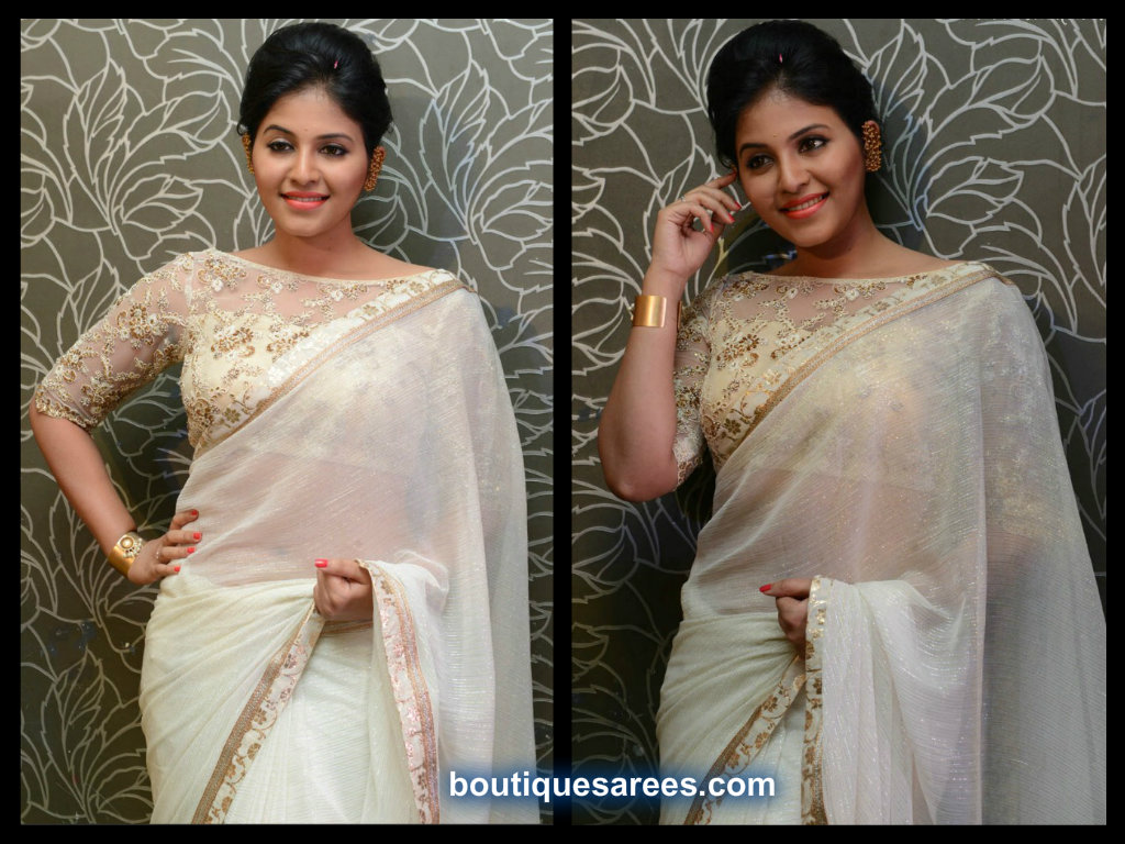 anjali in boat neck saree blouse