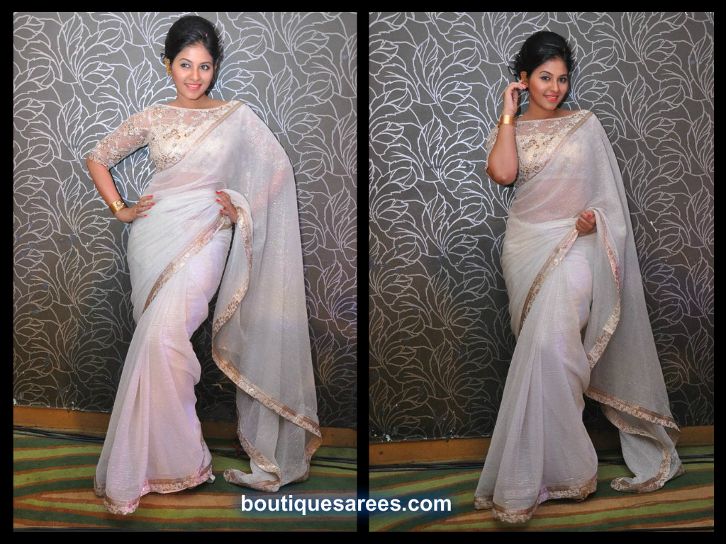 anjali in white saree