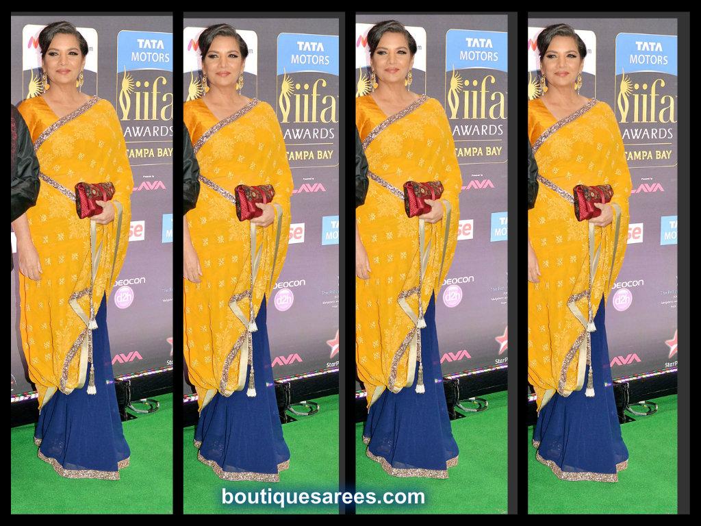 shabana azmi in half and half saree