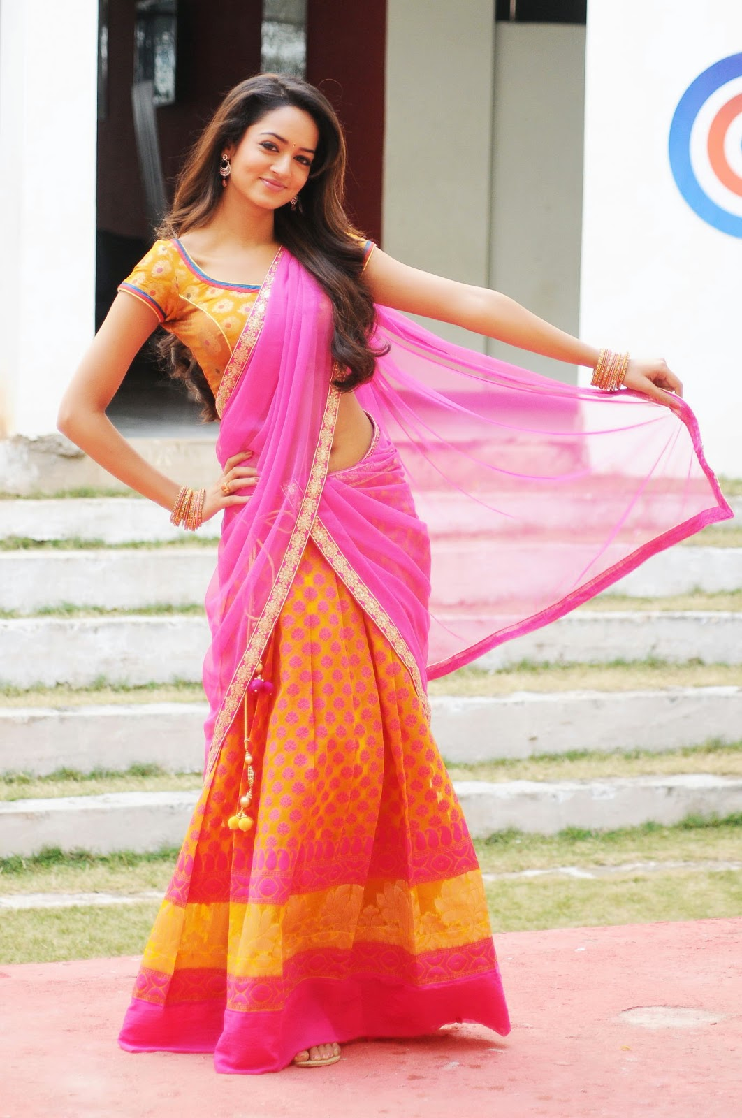 shanvi in traditional half saree