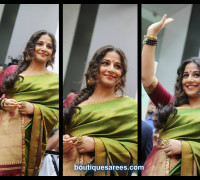 vidyabalan in green silk saree