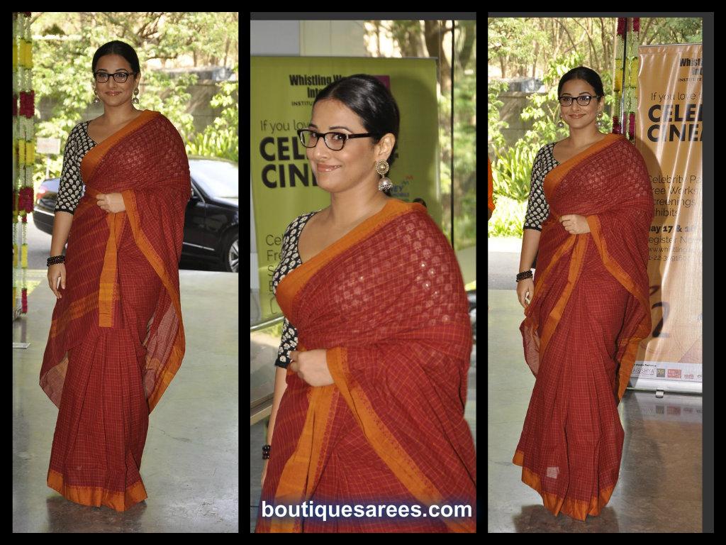 vidyabalan in cotton saree