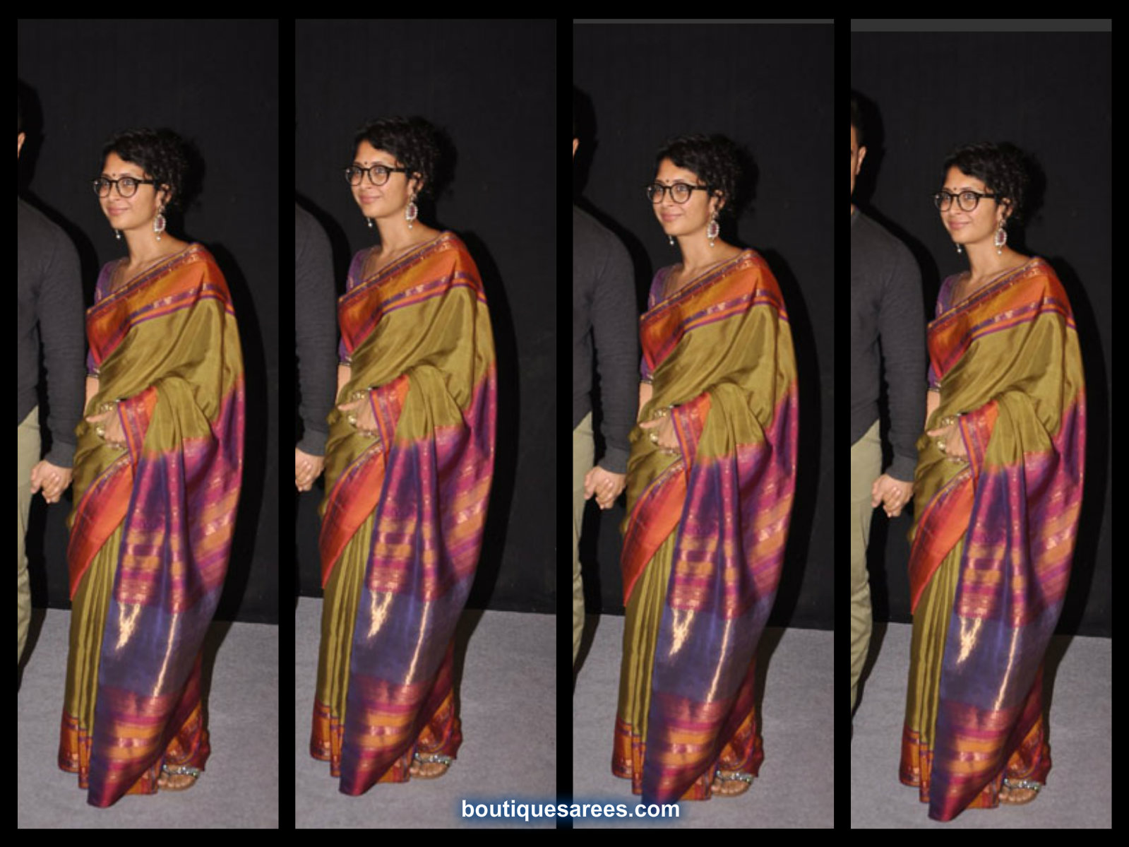 kiran rao in green silk saree