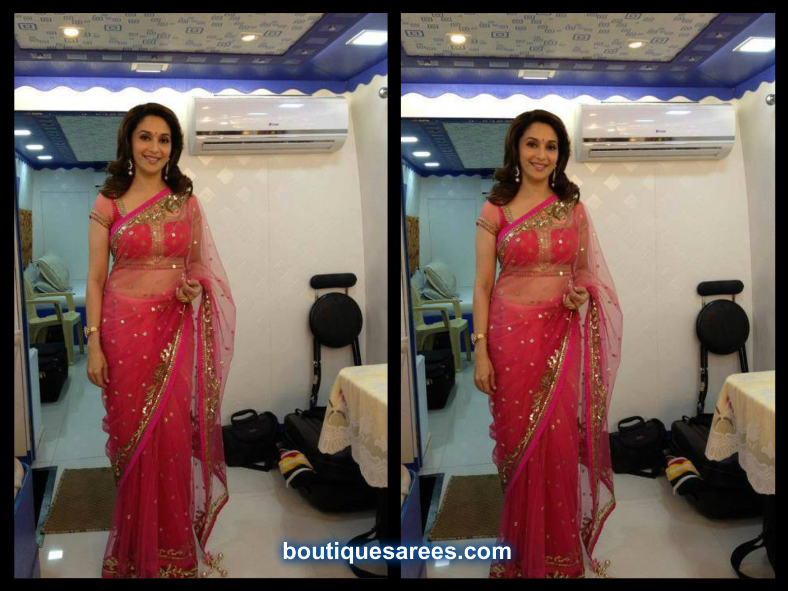 madhuri dixit in pink saree