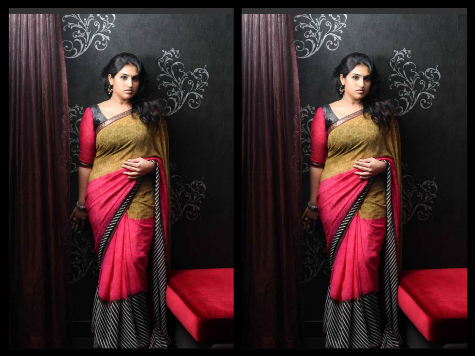 vanitha in printed saree