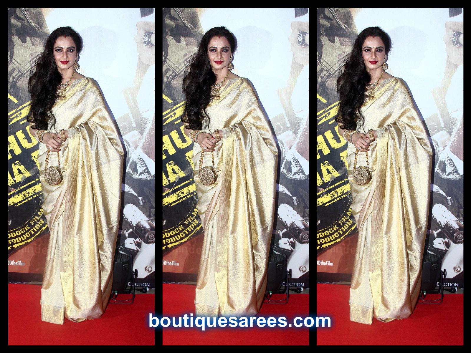 actress rekha in silk saree