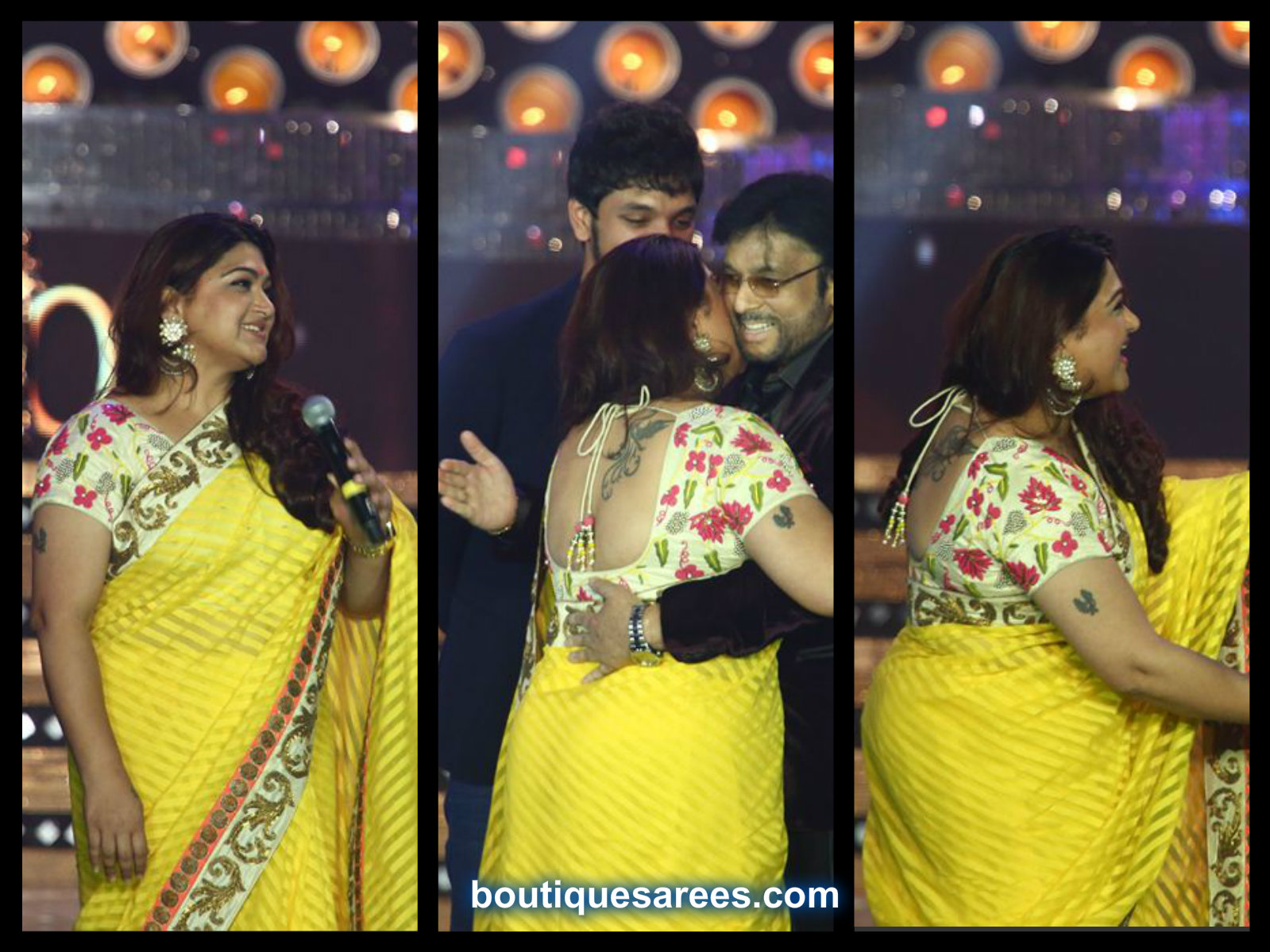 khushboo in yellow saree