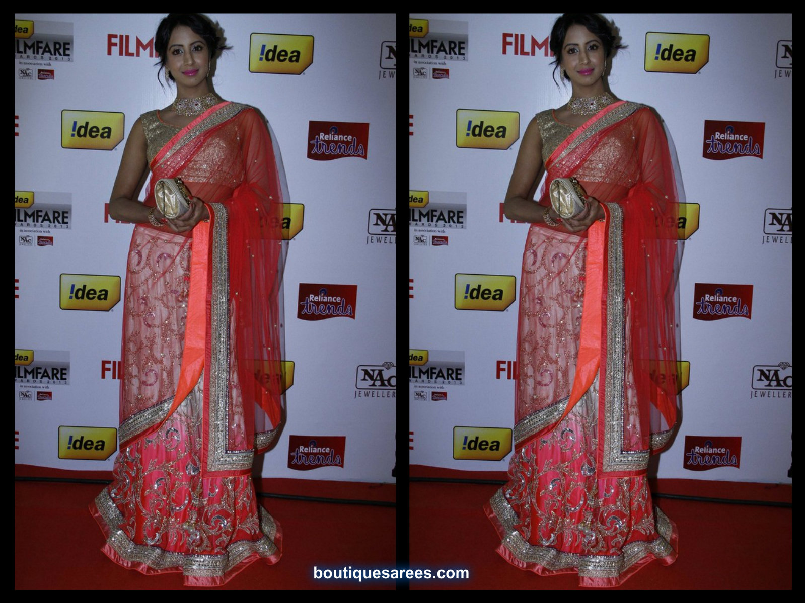 sanjana in embroidery half saree