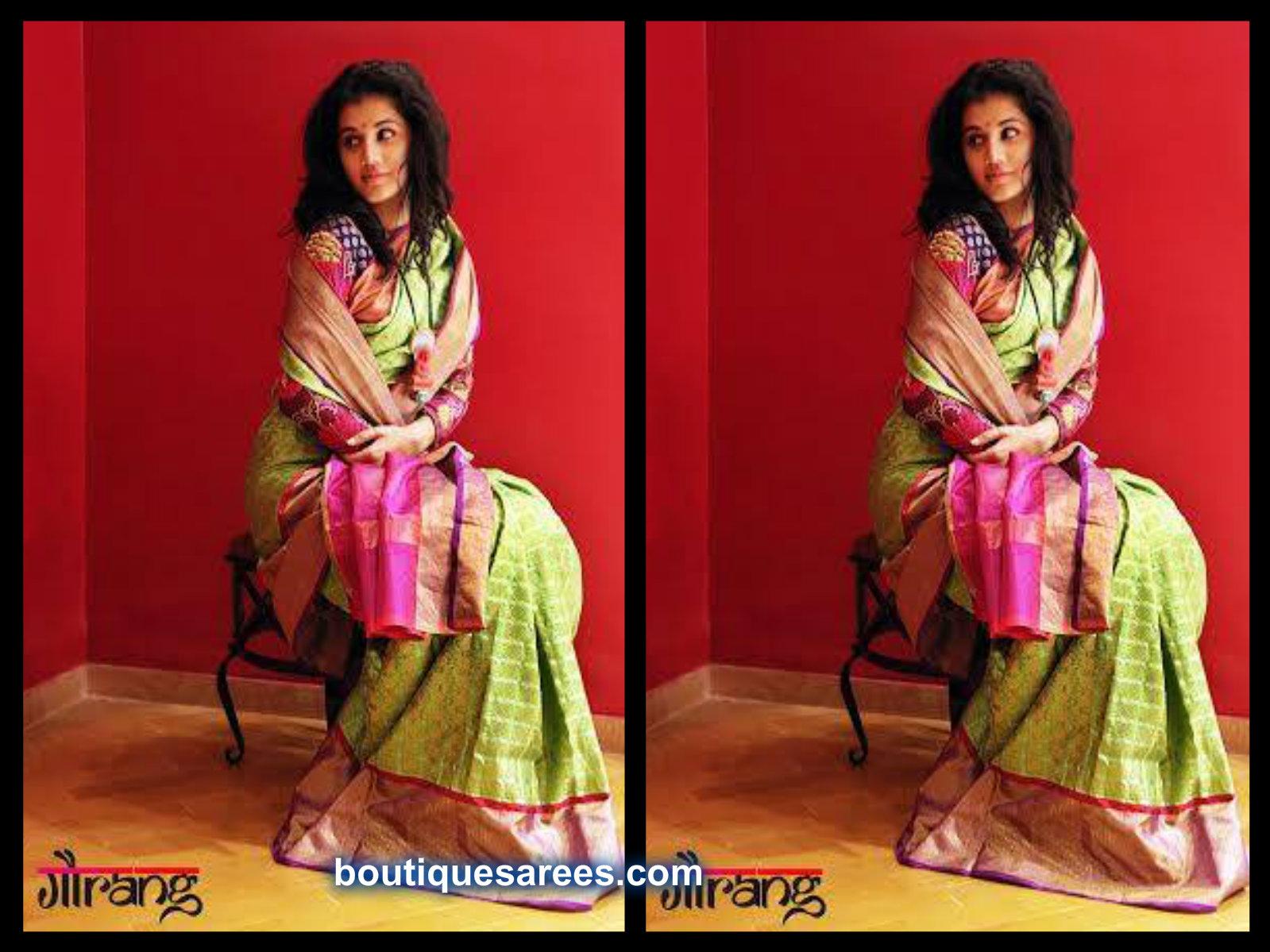 tapsee in gaurang shah sari