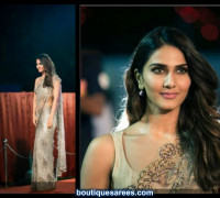 vaani kapoor in dev r nil saree