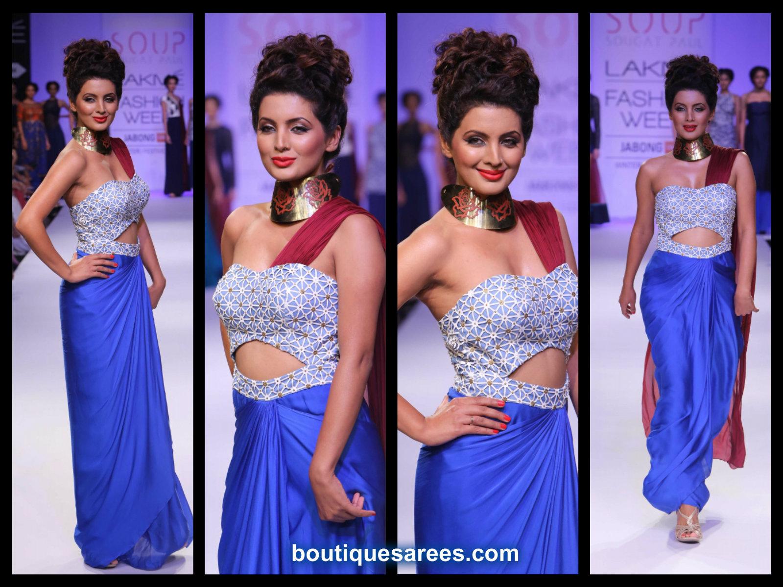 geeta basra in blue saree