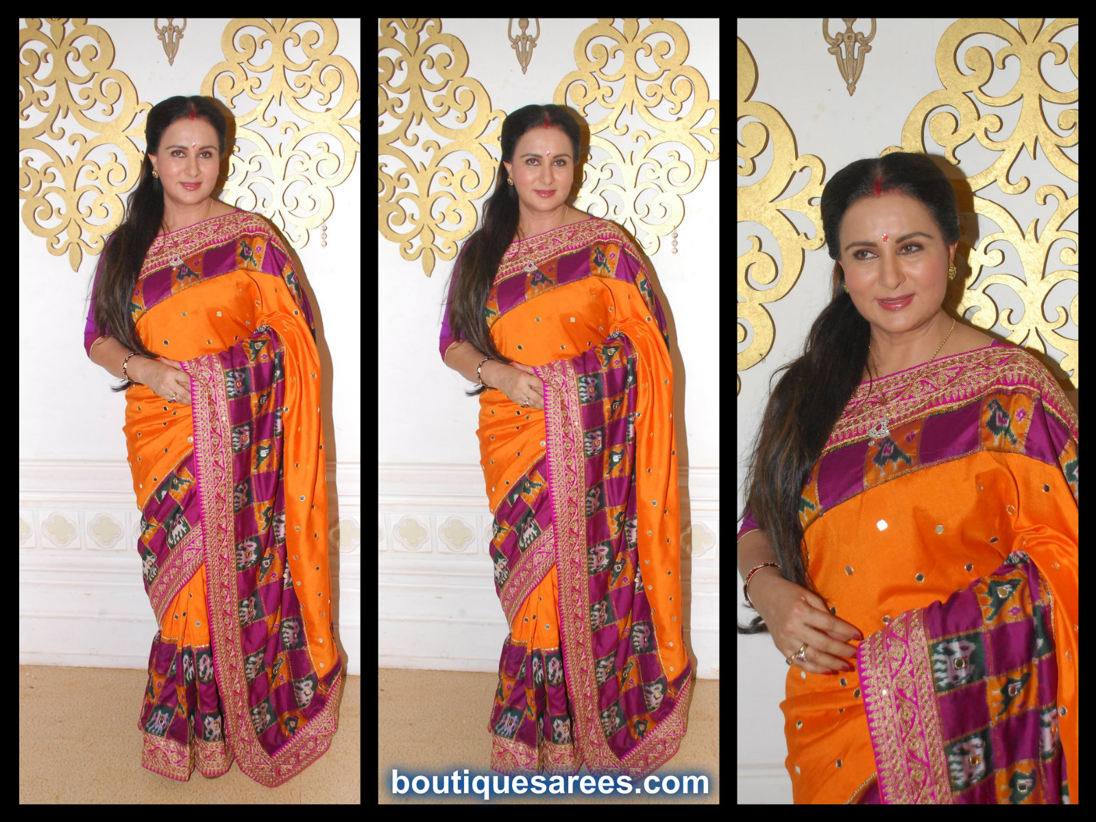 poonam dhillon in silk saree
