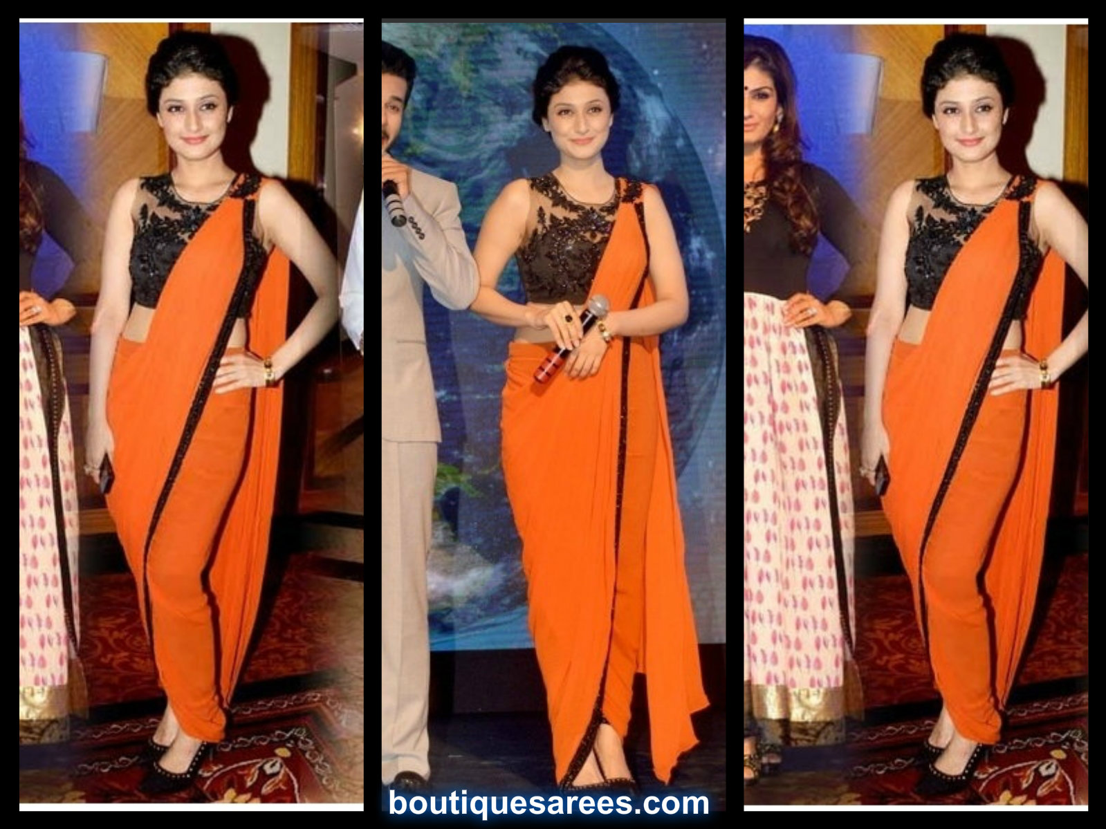 ragini kjanna in orange saree
