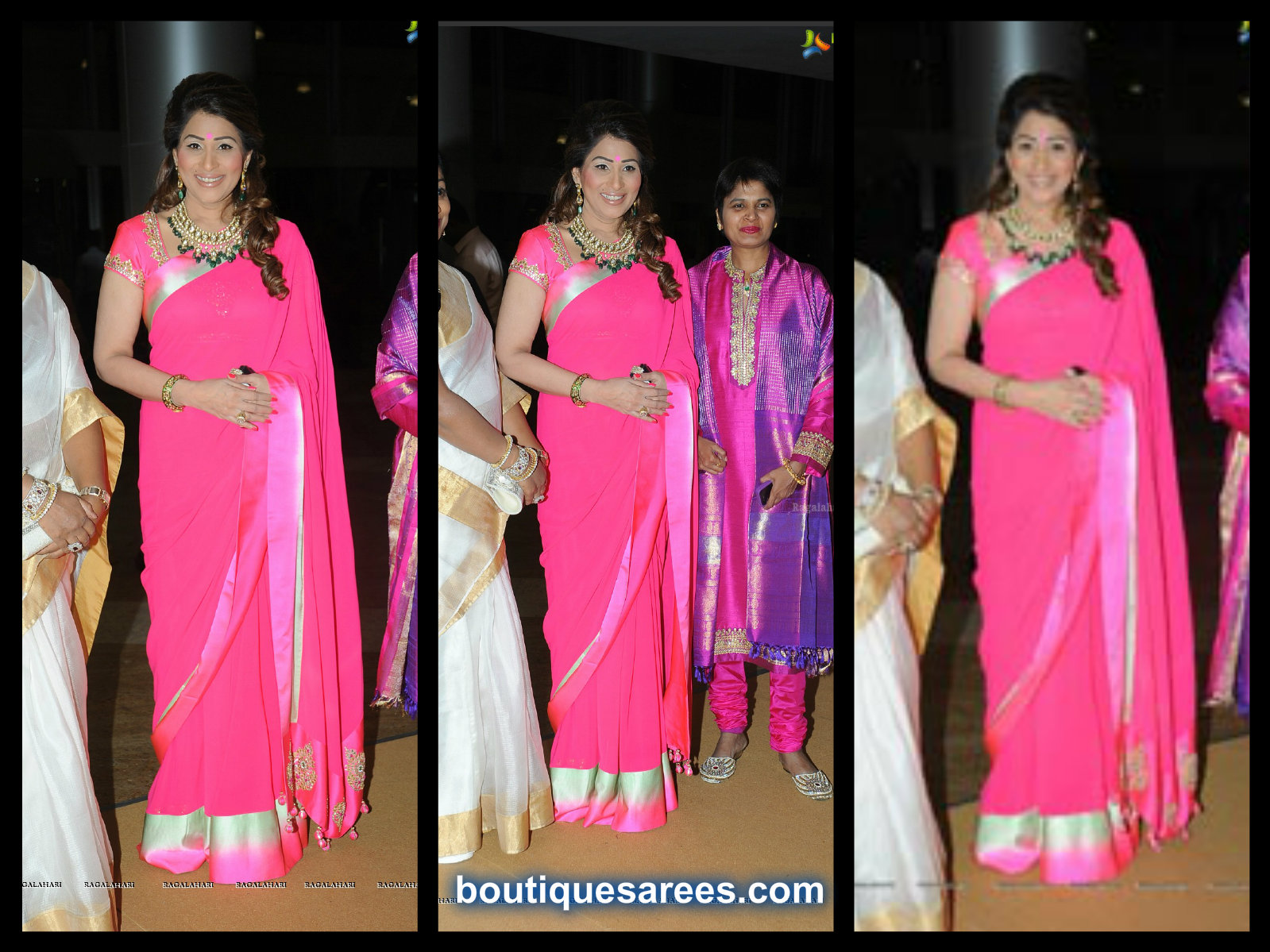 sheerdevi chowdary in pink saree
