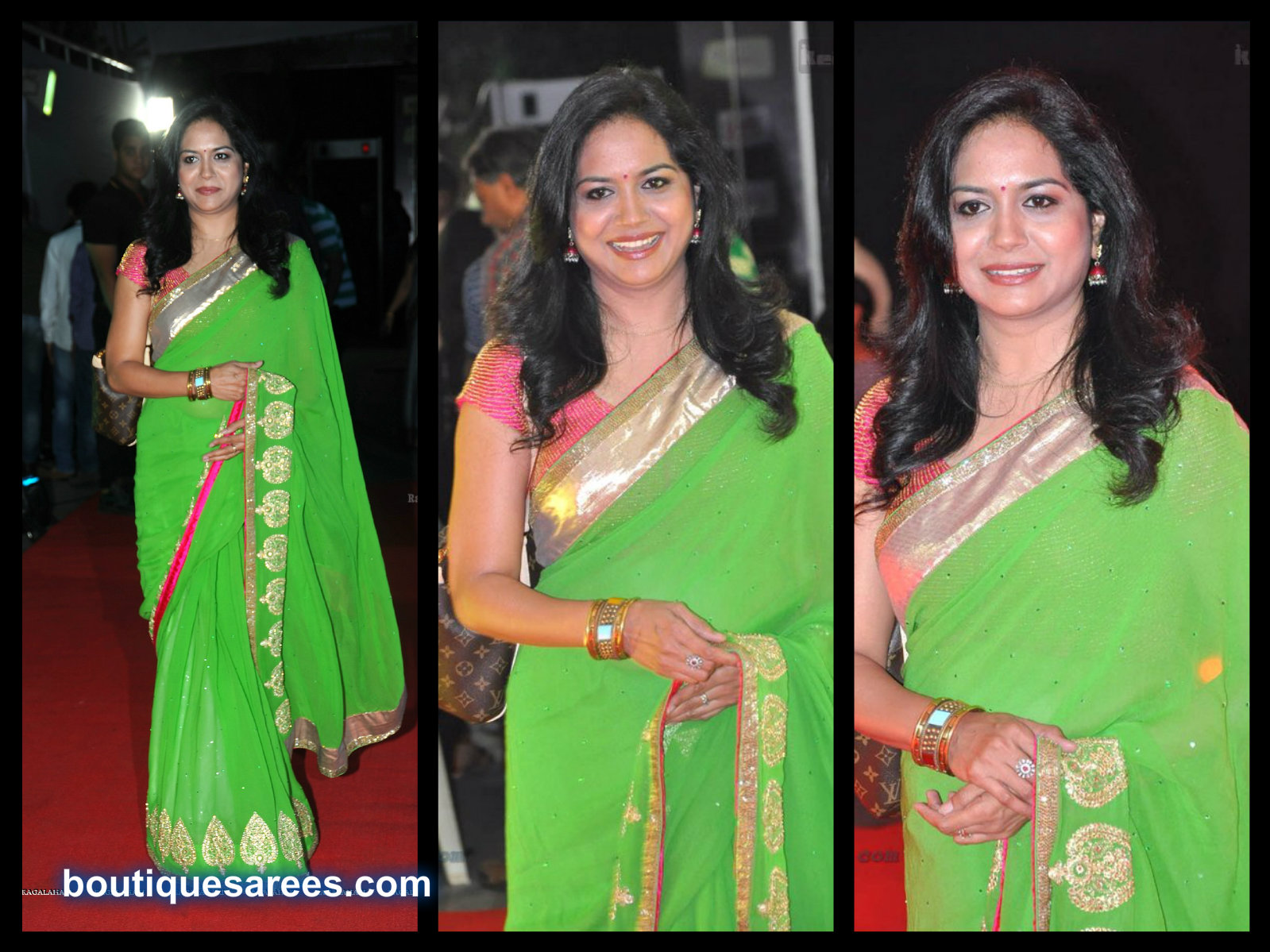 sunitha in green embroidery saree