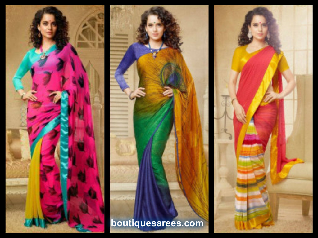kangna in half and half saree