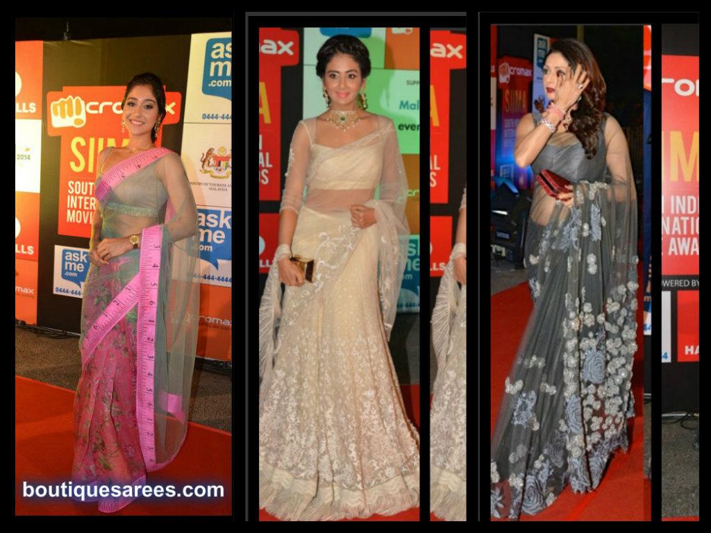 Celebrity sarees at siima awards 2014 Celebrity style fashion boutique