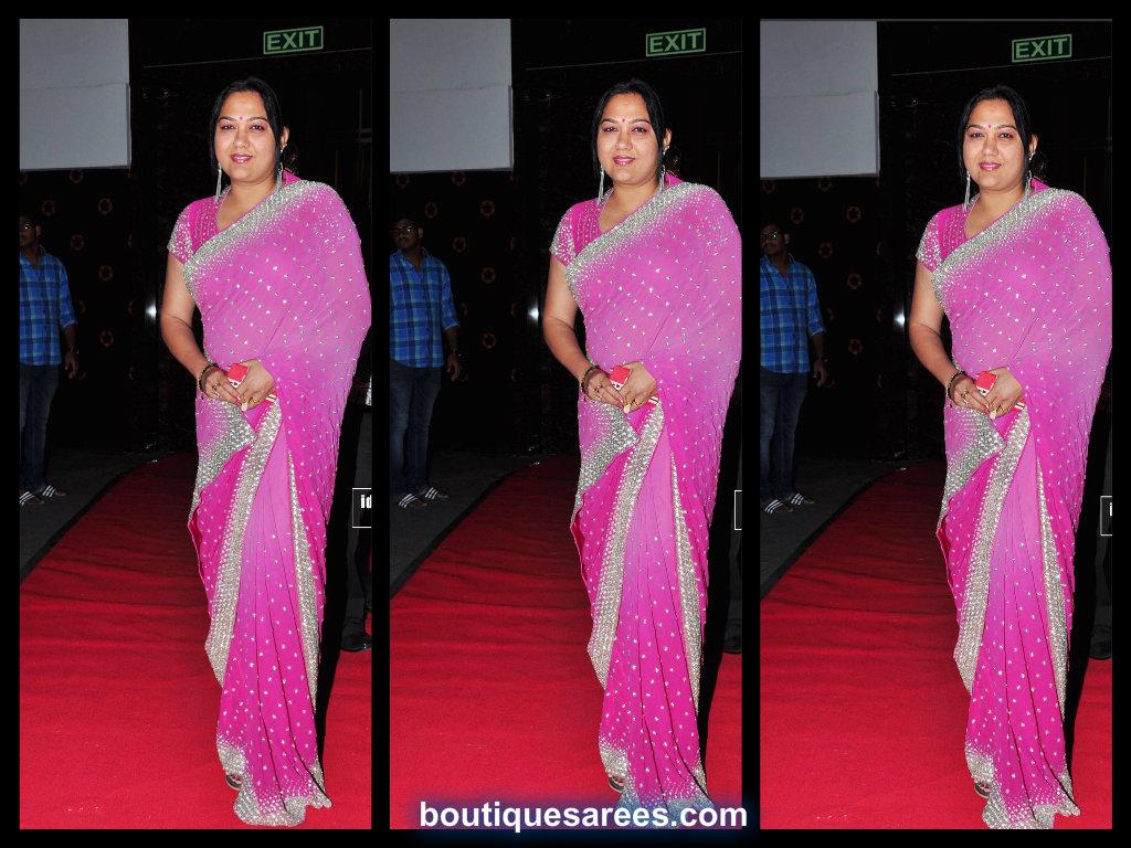 actress hema in pink embroidery saree