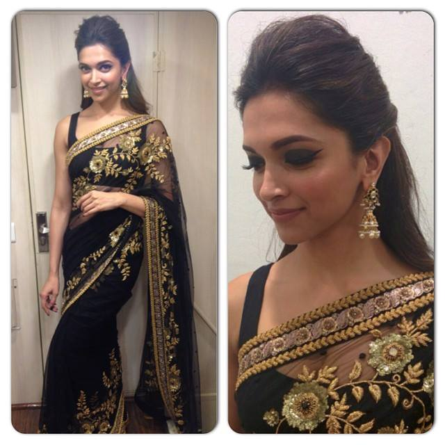 deepika padukone in black embroidery saree