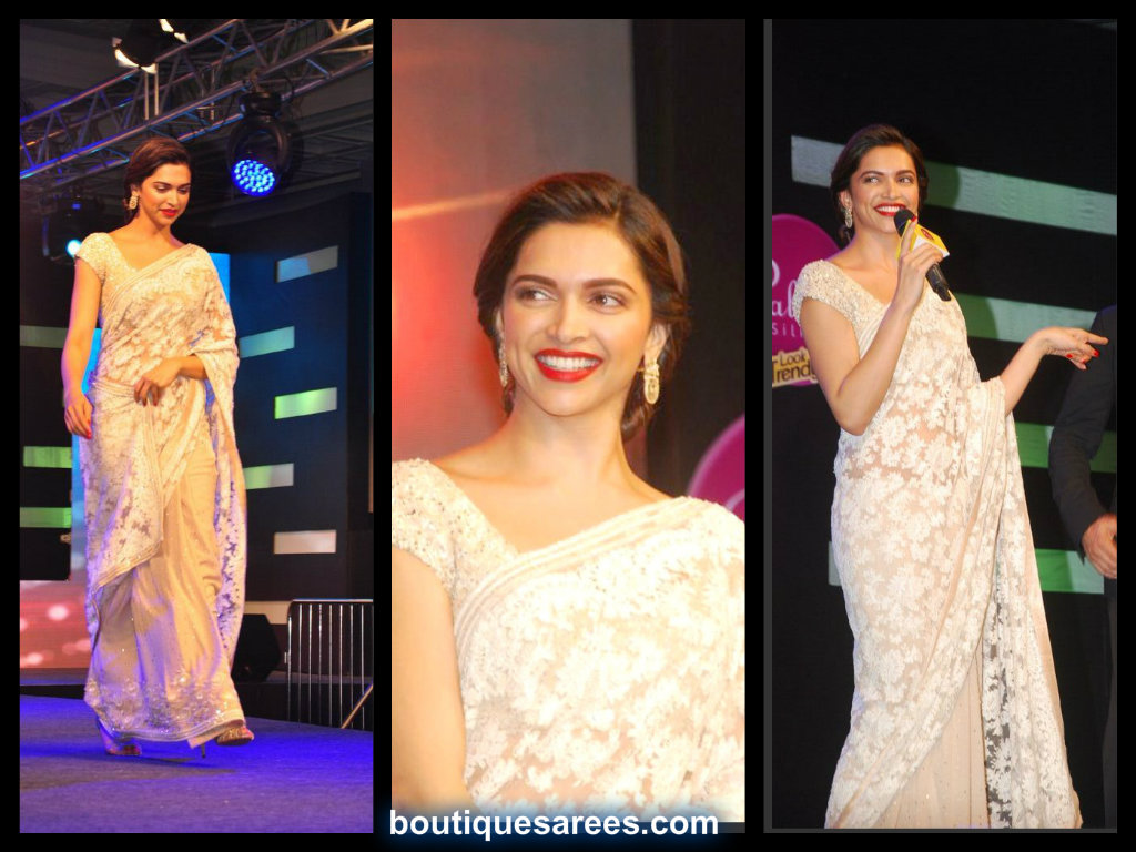 deepika padukone in half and half saree – Boutiquesarees.com