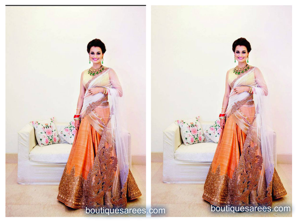 dia mirza in bridal lehenga saree