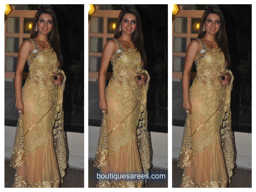 geetha basra in half and half saree