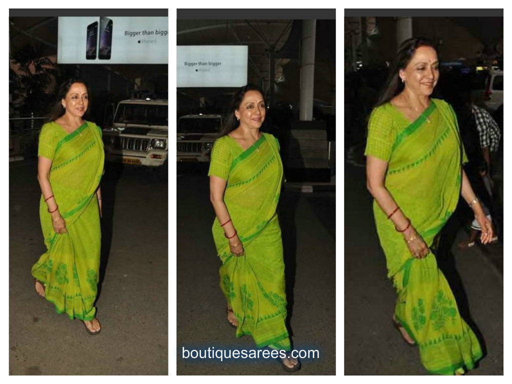 hema malini in printed saree