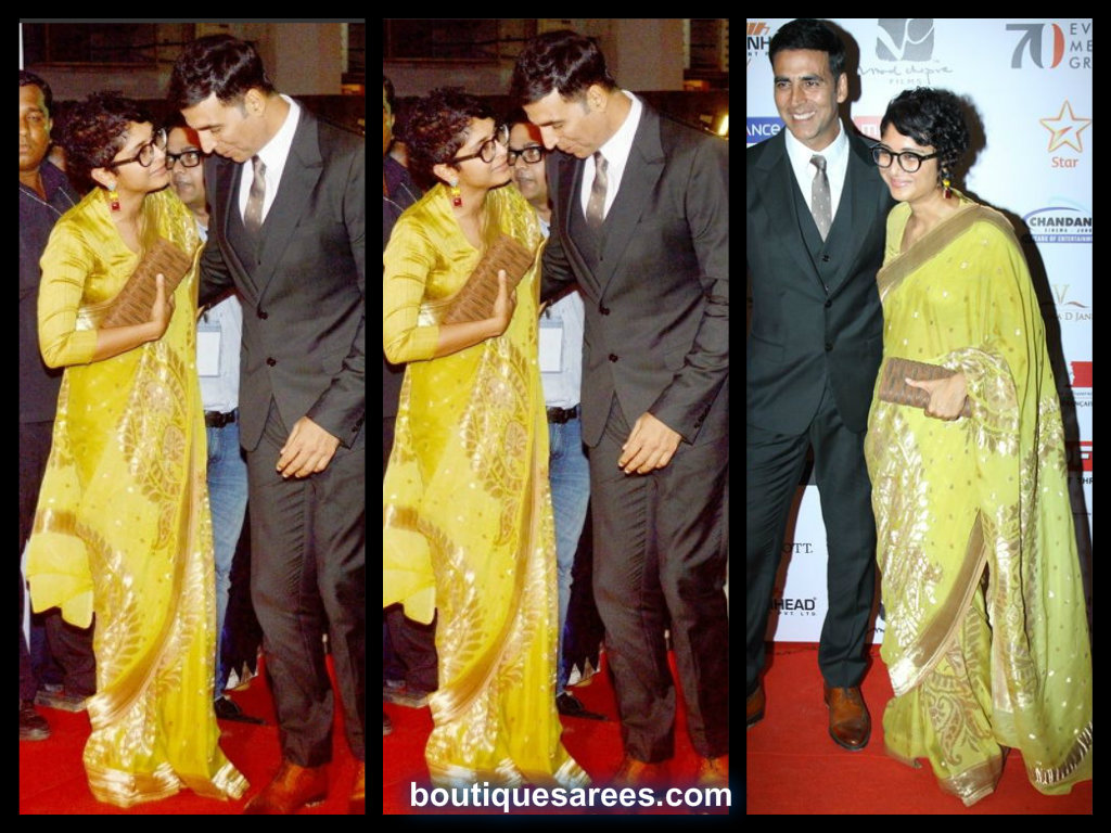 kiran rao in yellow silk saree