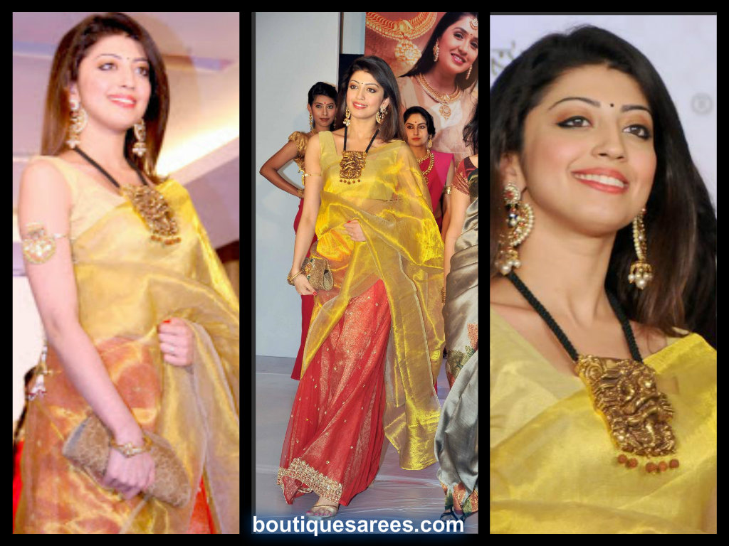 pranitha in half and half saree