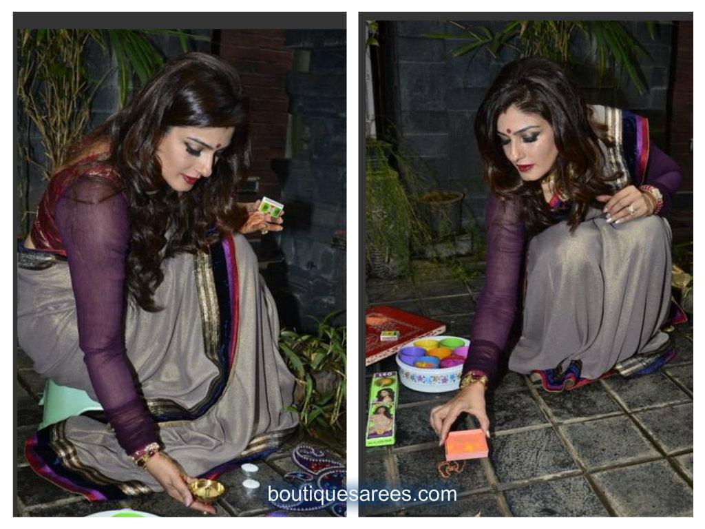 raveena in shimmer saree