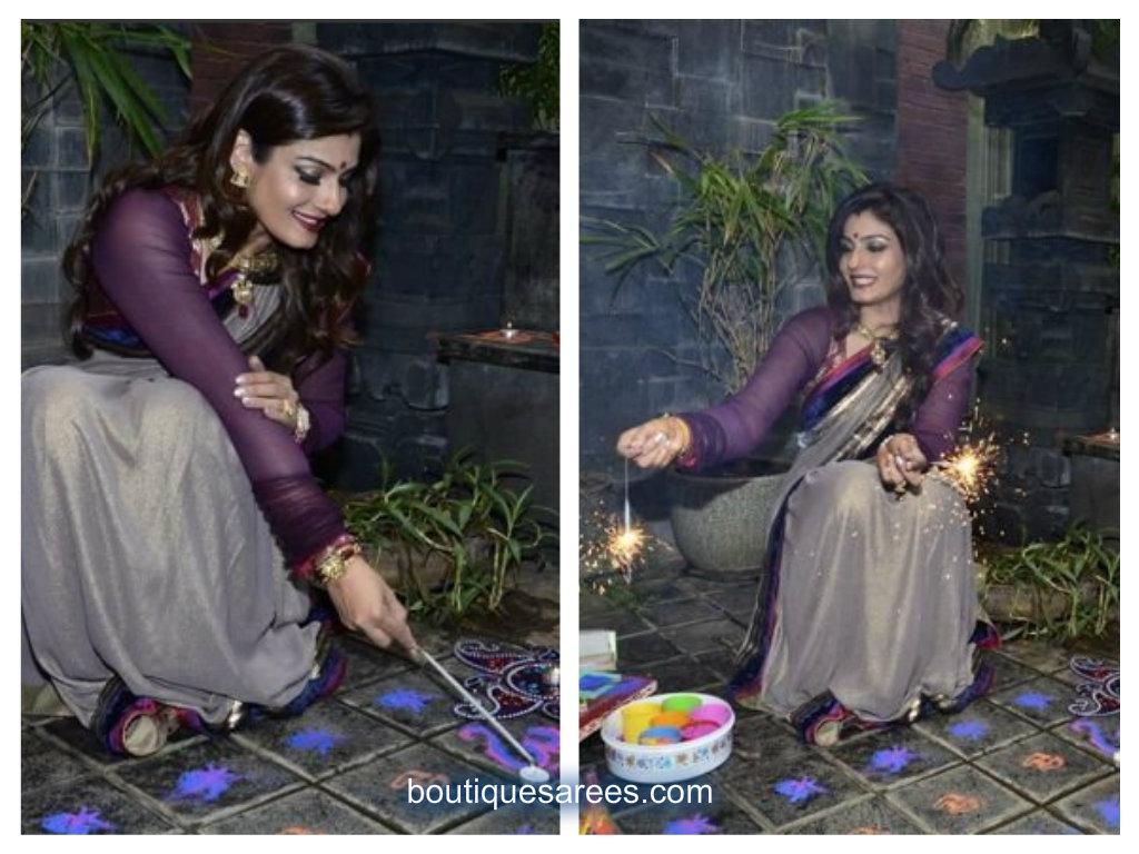 raveena in shimmer sari