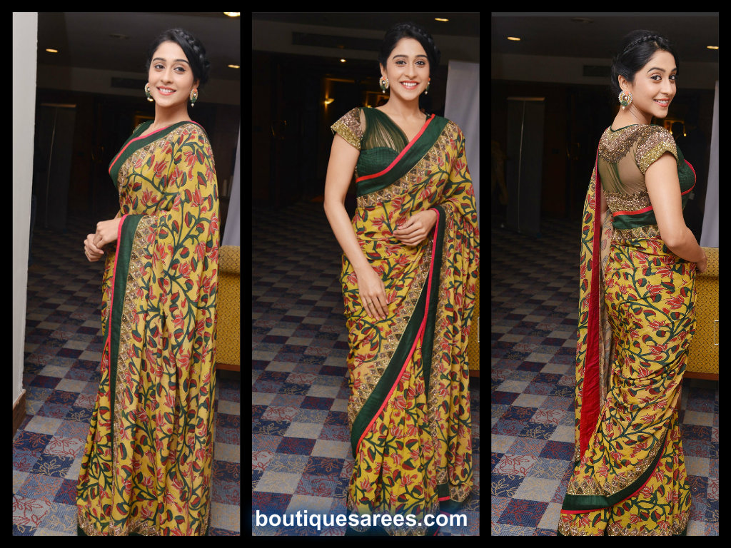 regina cassandra in printed saree