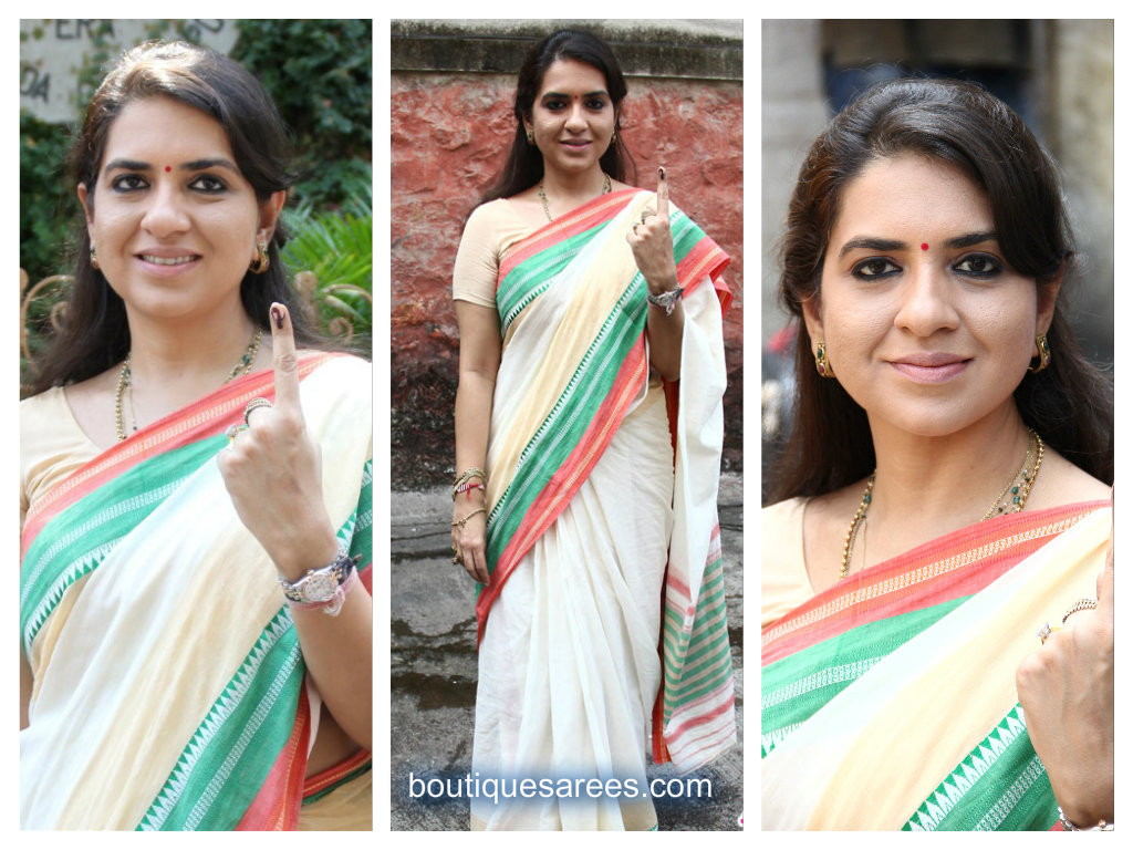 shaina nc in cotton saree