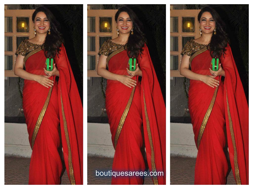 tisca chopra in red saree