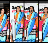 trs mp kavita in multi color saree