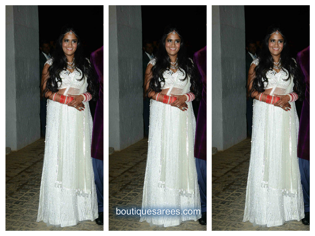 arpita khan in white lehenga