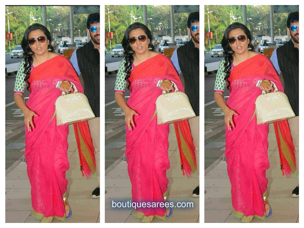 mini mathur in pink saree
