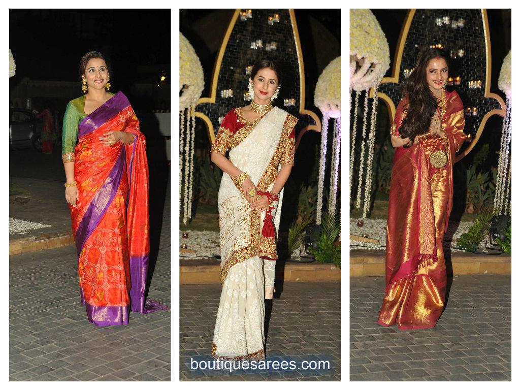 actress in designer sarees