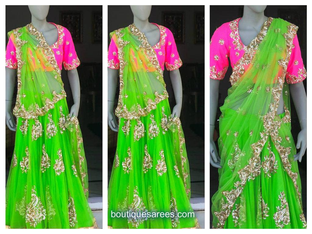 green half saree