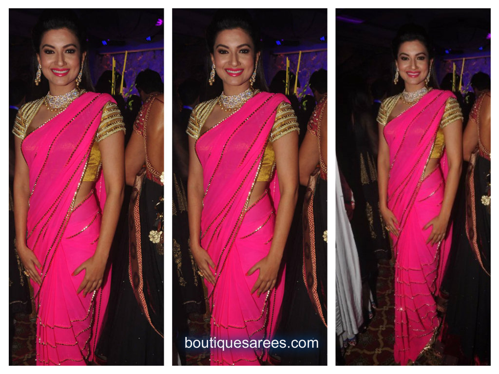 guhar khan in pink saree