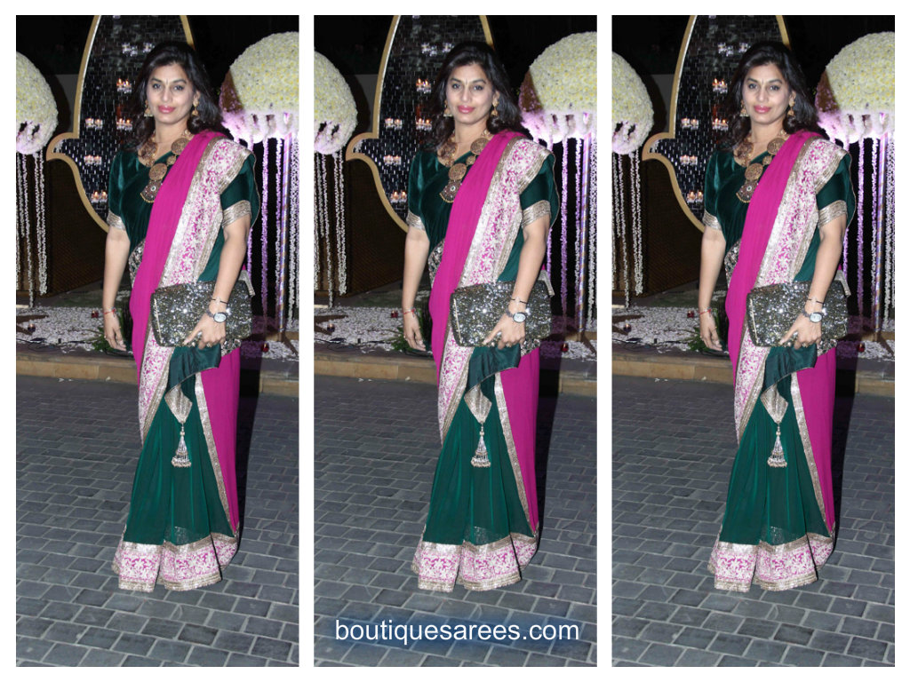 pinky reddy in half and half saree