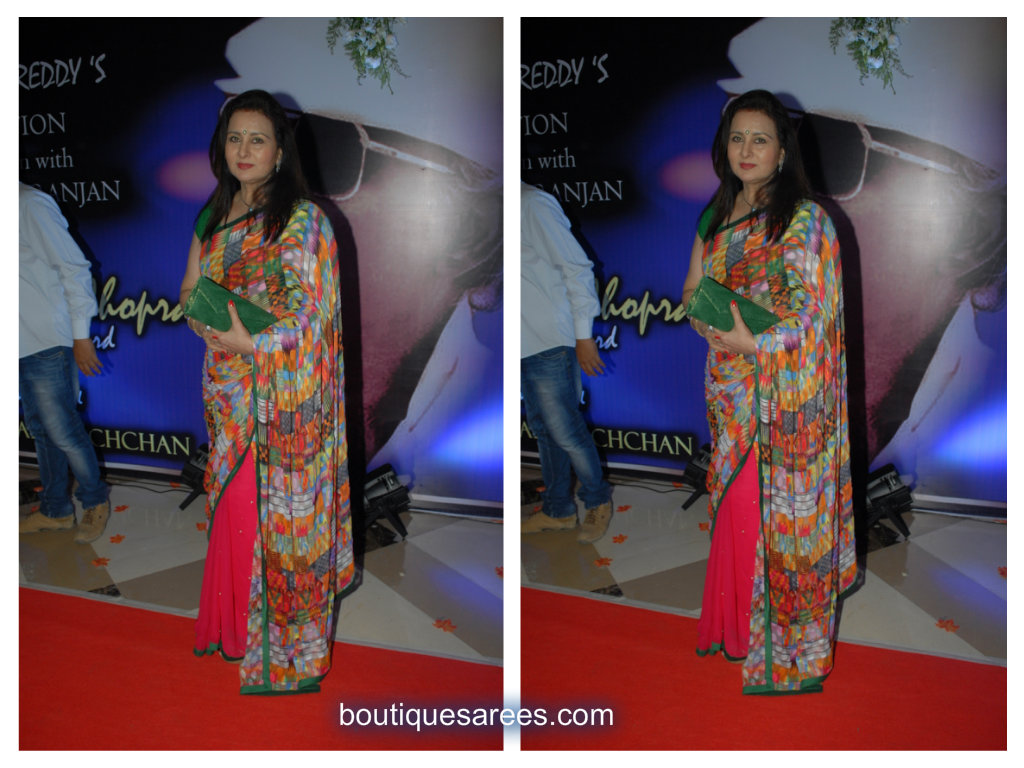 poonam dhillon in half and half saree