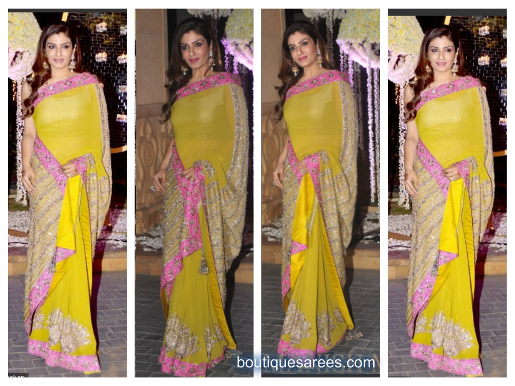 raveena tondon in yellow saree