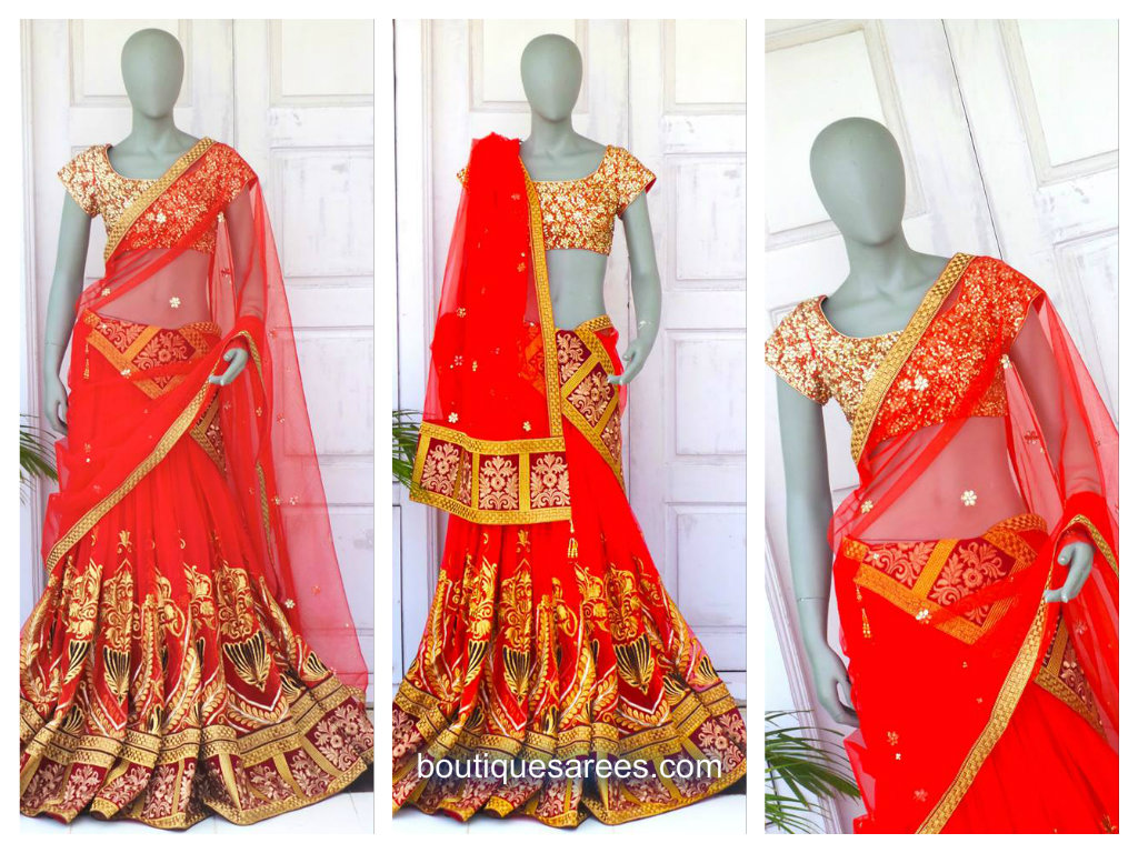 red lehenga saree