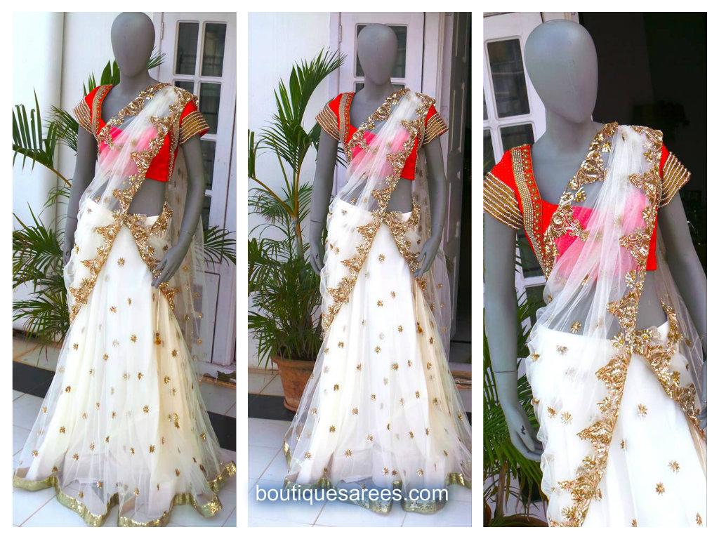 white embroidery saree