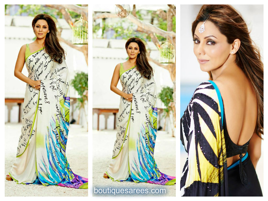 gauri khan in satya paul saree