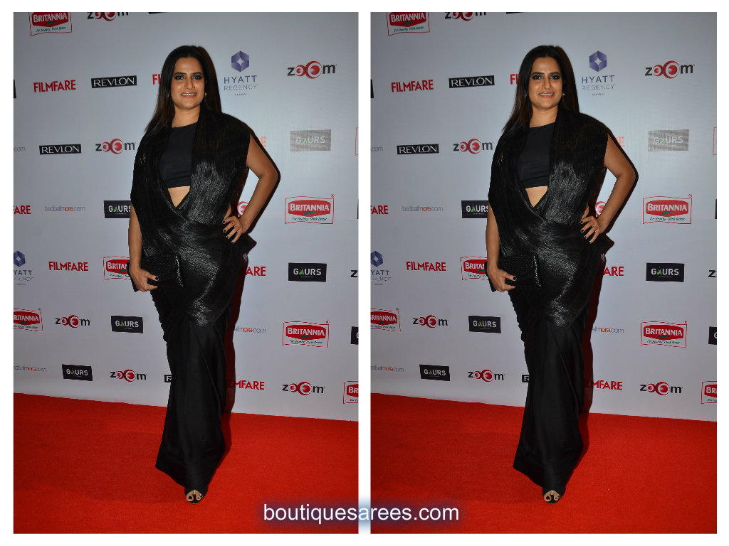 sona mohapatra in black saree